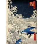 Grafika-00770 Utagawa Hiroshige : Drum bridge at Meguro and Sunset Hill, 1857