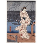 Grafika-00771 Utagawa Hiroshige : Evening on the Sumida River, 1847-1848