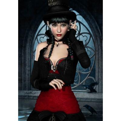 Grafika-01152 Femme Gothique aux Corbeaux