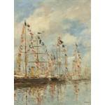 Grafika-01595 Eugène Boudin - Bassin de Yacht à Trouville, Deauville, 1895/1896