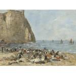 Grafika-01599 Eugène Boudin: Les Blanchisseuses de la Plage d'Etretat, 1894