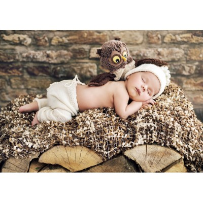 Grafika-01621 Konrad Bak: Baby and Owl