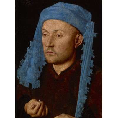 Grafika-01723 Jan van Eyck - Portrait of a Man with a Blue Chaperon, 1430-33