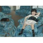 Grafika-01922 Mary Cassatt : Petite Fille dans un Fauteuil Bleu, 1878