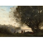 Grafika-01967 Jean-Baptiste-Camille Corot : Danse sous les Arbres au Bord du Lac, 1865-1870