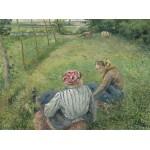 Grafika-02039 Camille Pissarro : Jeunes Paysannes se Reposant dans les Champs Près de Pontoise, 1882