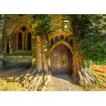 Grafika-02940 St Edward's Parish Church north door flanked by yew trees