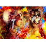 Grafika-T-00688 La Femme Indienne et le Loup