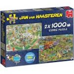 Jumbo-19099 2 Puzzles - Jan Van Haasteren - Barbecue Party !