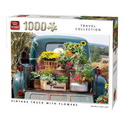 King-Puzzle-55862 Vintage Truck with Flowers