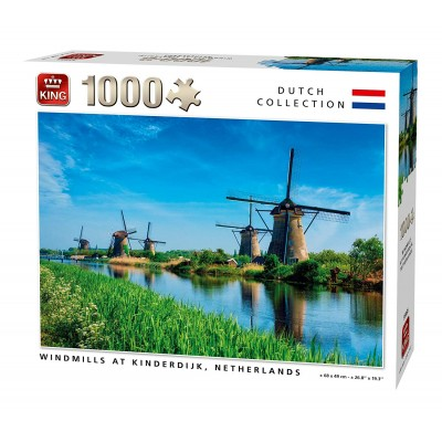 King-Puzzle-55885 Windmills Kinderdijk Netherlands