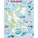 Larsen-A1-NO Puzzle Cadre - Norvège : Le Svalbard et ses Animaux (Noms des animaux en Norvégien)