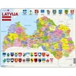 Larsen-A10-LE Puzzle Cadre - Carte de la Lettonie (en Letton)