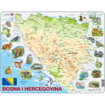 Larsen-A20 Puzzle Cadre - Carte de Bosnie Herzégovine avec ses Animaux (en langue Bosniaque)