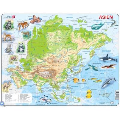 Larsen-A30-DE Puzzle Cadre - Carte de l'Asie (en Allemand)