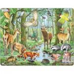 Larsen-FH17 Puzzle Cadre - Les Animaux de la Forêt Européenne