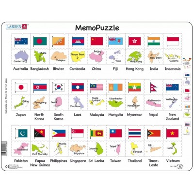 Larsen-GP7-GB Puzzle Cadre - The Flags and Capitals of 27 Countries in Asia and the Pacific