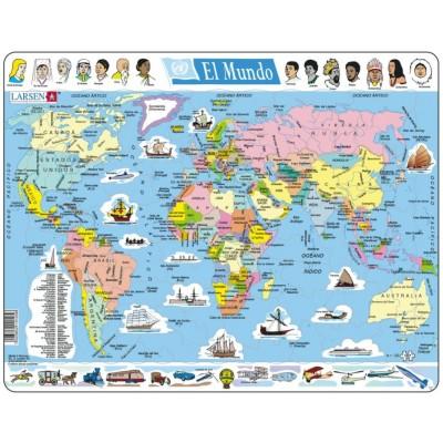 Larsen-K1-ES Puzzle Cadre - El Mundo (en Espagnol)