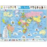 Larsen-K1-FR Puzzle Cadre - Carte du Monde (en Français)