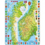 Larsen-K10-NO Puzzle Cadre - Carte de la Norvège (en Norvégien)