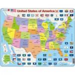 Larsen-K12-GB Puzzle Cadre - Carte des Etats-Unis (en Anglais)