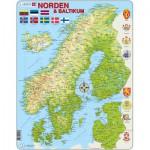 Larsen-K3-V1 Puzzle Cadre - Carte des Pays Nordiques