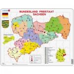 Larsen-K34-DE Puzzle Cadre - Bundesland : Freistaat Sachsen (en Allemand)
