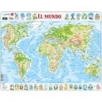 Larsen-K4-ES Puzzle Cadre - El Mundo (en Espagnol)