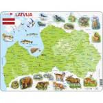 Larsen-K46 Puzzle Cadre - Carte de la Lettonie (en Letton)