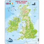 Larsen-K5-GB Puzzle Cadre - Carte du Royaume Uni (en Anglais)