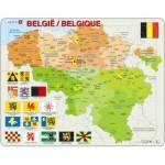Larsen-K59-V1 Puzzle Cadre - Carte de la Belgique (en Français et Flamand)
