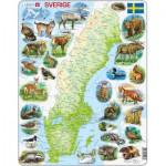 Larsen-K6-SE Puzzle Cadre - Carte de la Suède et ses Animaux (en Suédois)