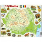 Larsen-K67-RO Puzzle Cadre - Carte de la Roumanie (en Roumain)