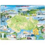 Larsen-K76 Puzzle Cadre - Carte de la République Tchèque (en Tchèque)
