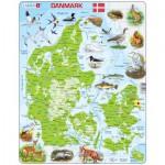 Larsen-K78-DK Puzzle Cadre - Carte du Danemark (en Danois)