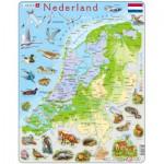 Larsen-K79-NL Puzzle Cadre - Carte des Pays-Bas et ses Animaux (en Hollandais)