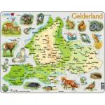 Larsen-K91 Puzzle Cadre - Carte de Gelderland et ses Animaux (en Allemand)