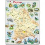 Larsen-K95-DE Puzzle Cadre - Carte de la Bavière et ses Animaux (en Allemand)