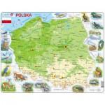 Larsen-K98-PL Puzzle Cadre - Carte de la Pologne et ses Animaux (en Polonais)
