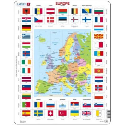 Larsen-KL1-FR Carte et Drapeaux de l'Europe (en Français)