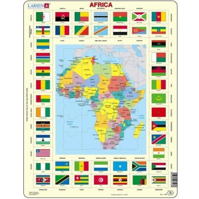 Larsen-KL3-GB Puzzle Cadre - Carte de l'Afrique (en Anglais)