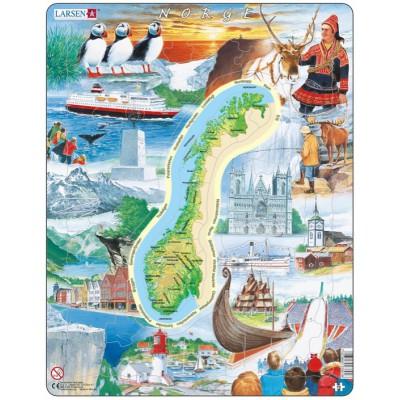 Larsen-KS1-NO Puzzle Cadre - Sites Touristiques de Norvège