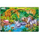 Larsen-U11-2 Puzzle Cadre - Animaux de la Jungle