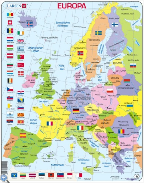 Puzzle Cadre   Carte de l'Europe (en Allemand) Larsen K2T DE 48