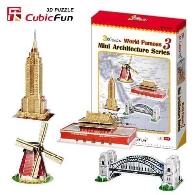 CubicFun 3d puzzle-world famous 3-Mini puzzel monuments du monde 100 pièces