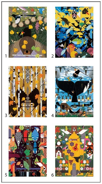 Charley Harper - 12 cubes pour six oeuvres d`art