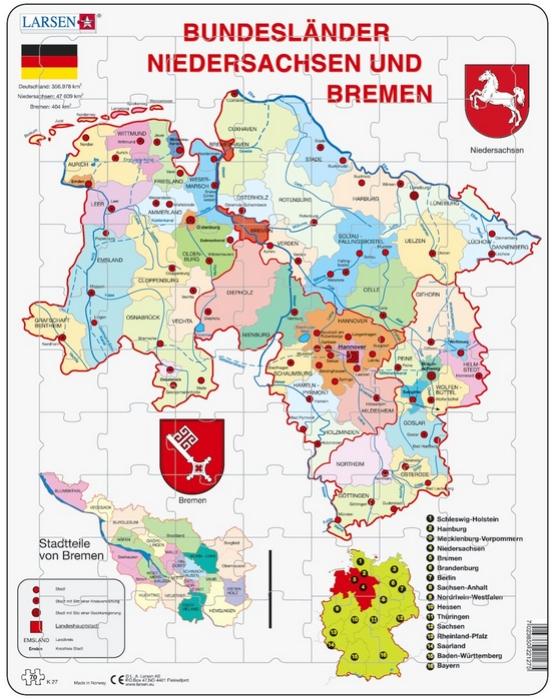puzzle-cadre-bundesland-bremen-and-niedersachen-en-allemand-