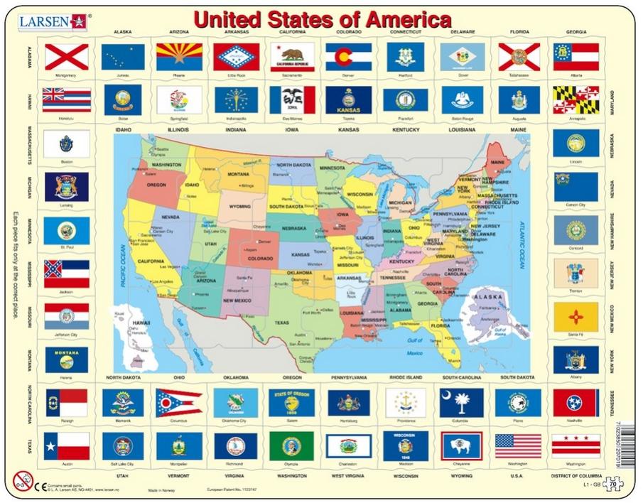 puzzle-cadre-carte-et-drapeaux-des-etats-unis-en-anglais-