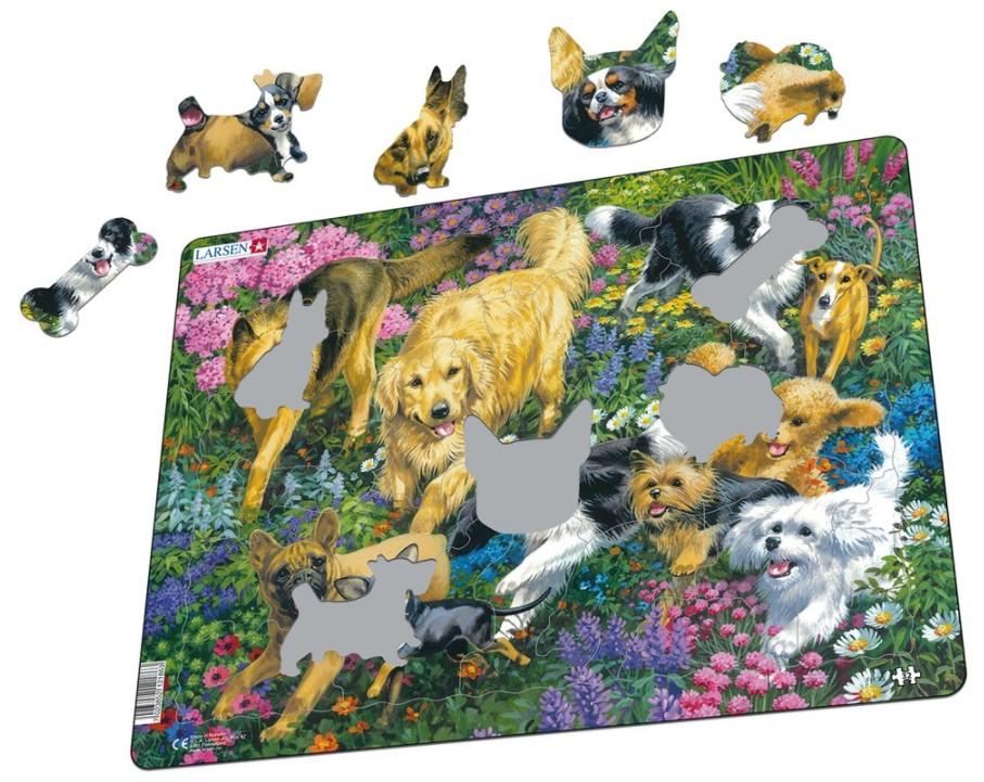 puzzle-cadre-chiens-dans-un-champ-de-fleurs