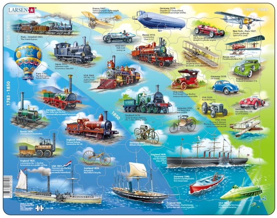 puzzle-cadre-historical-vehicles-en-anglais-